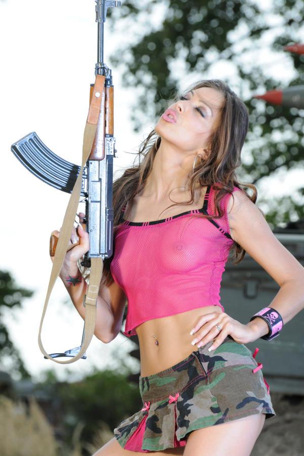 Cyber Angel Amanda with gun