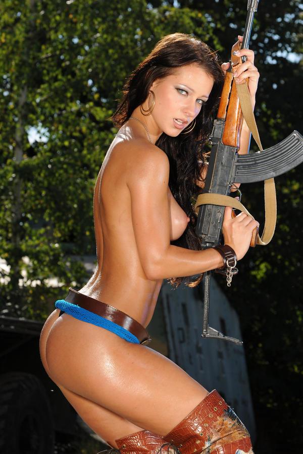 Cyber Angel Kristina with big gun