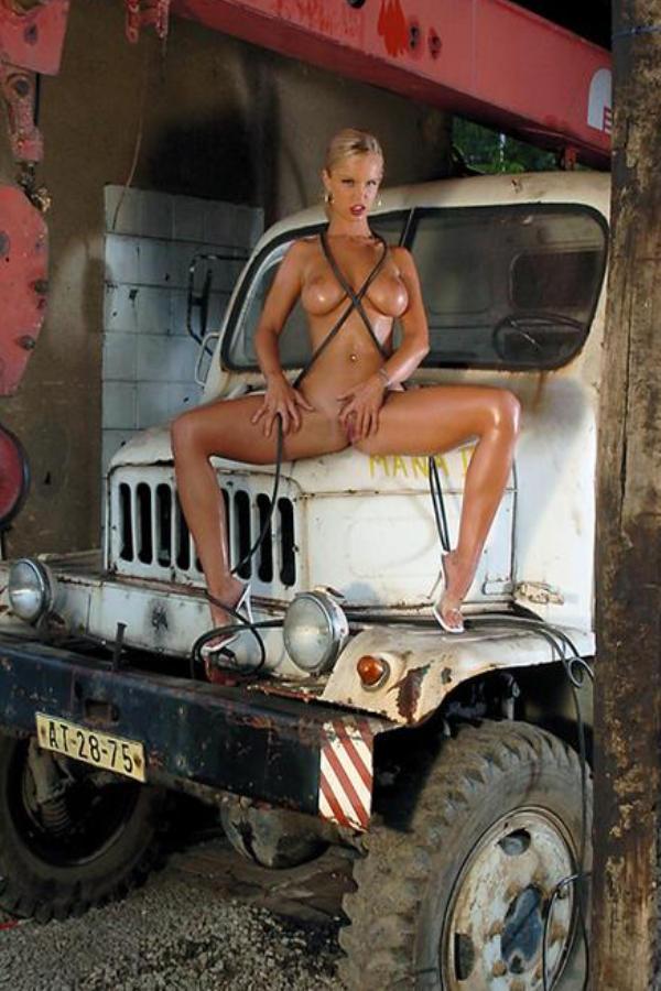 Cyber Angel Yana nude on white truck
